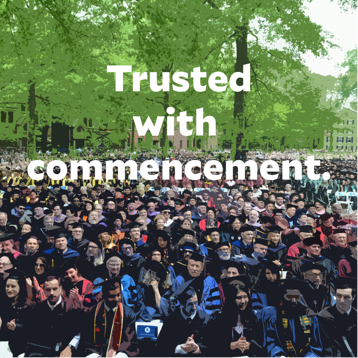 students sitting in rows during the Yale commencement ceremony on Old Campus.